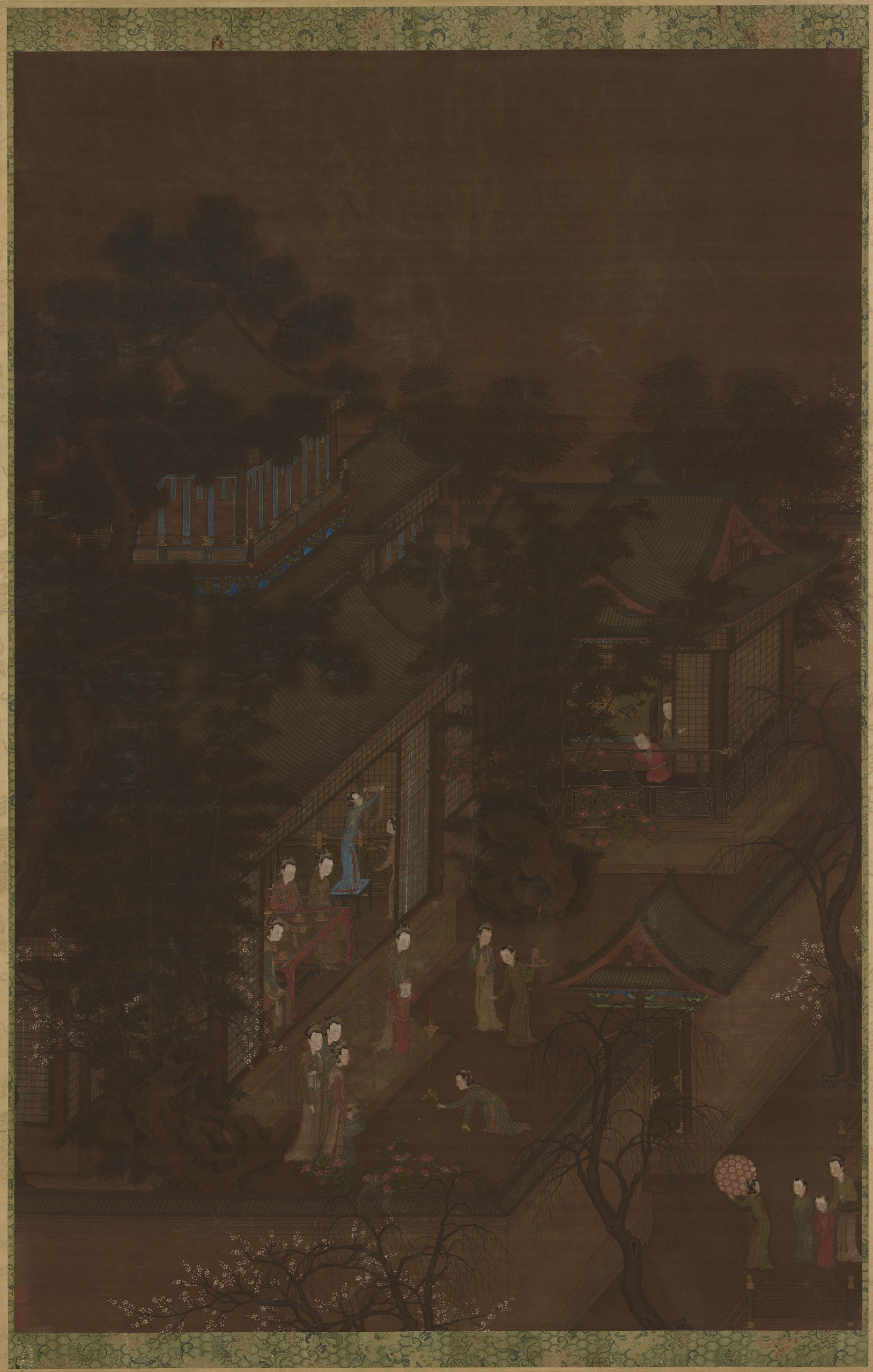 women and children looking outside from their house at night