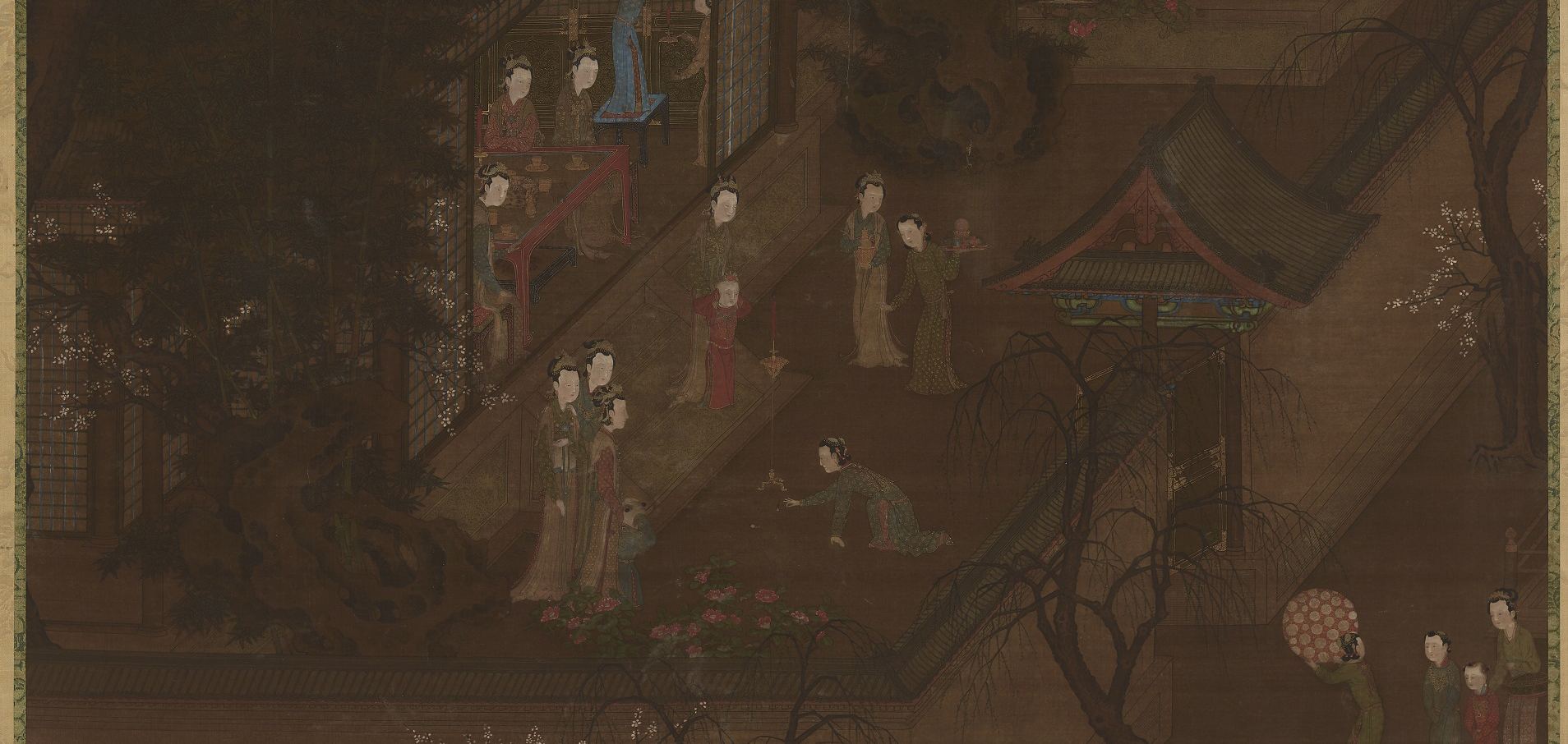 detail painting of women and children interacting inside and outside a building