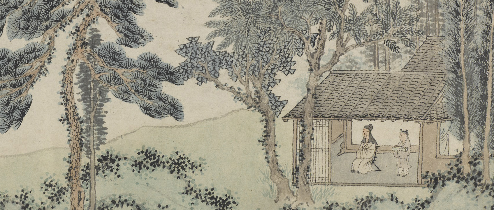 detail of illustration of person in a building under trees