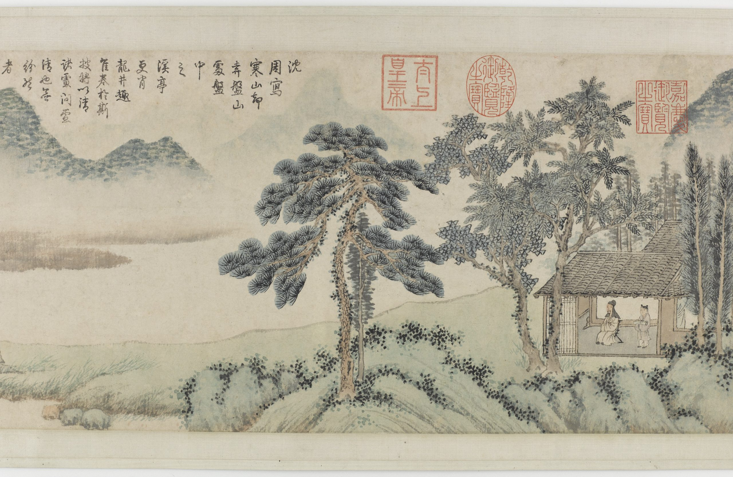 two people in a house under trees in a landscape