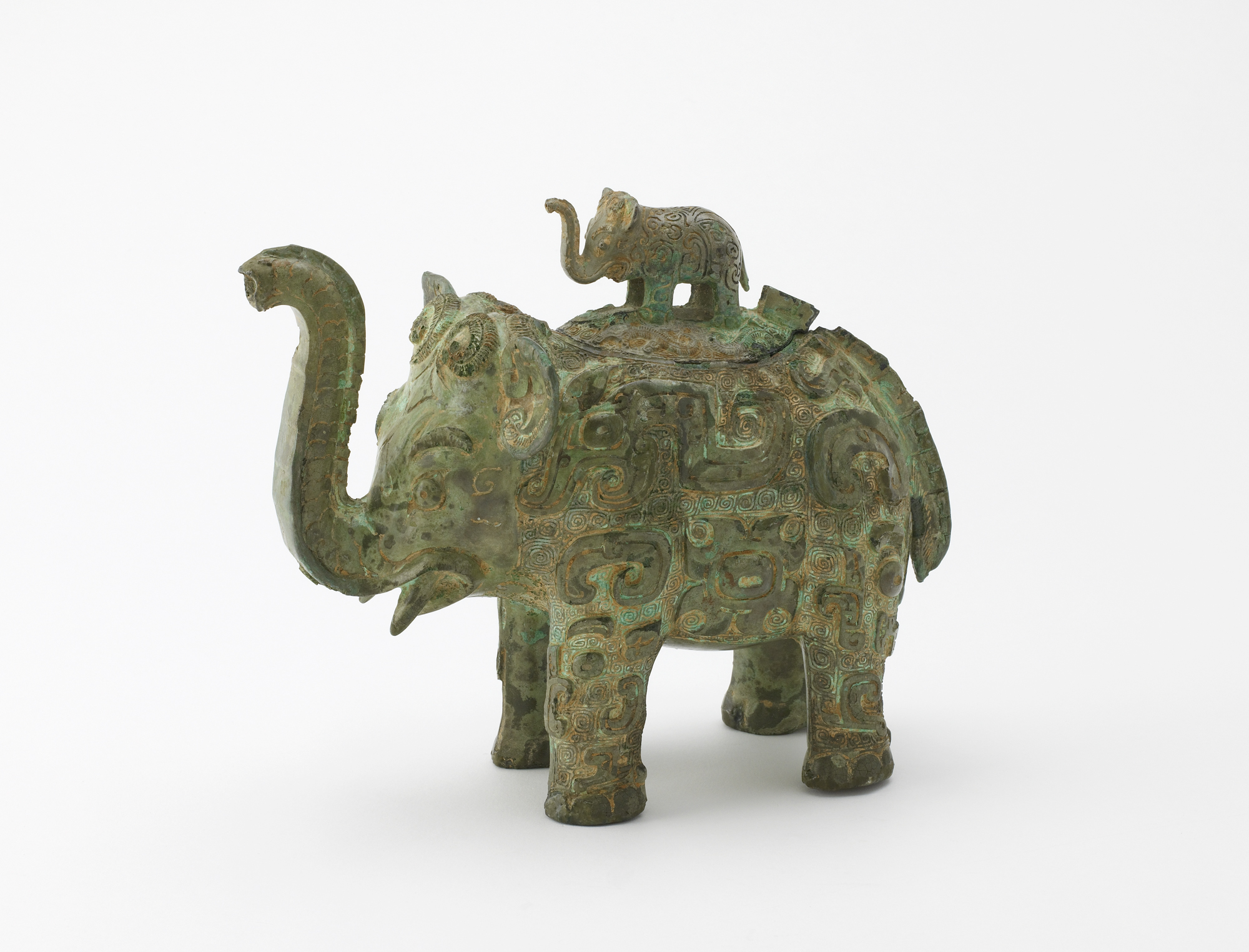 metalwork wine vessel in the shape of an elephant