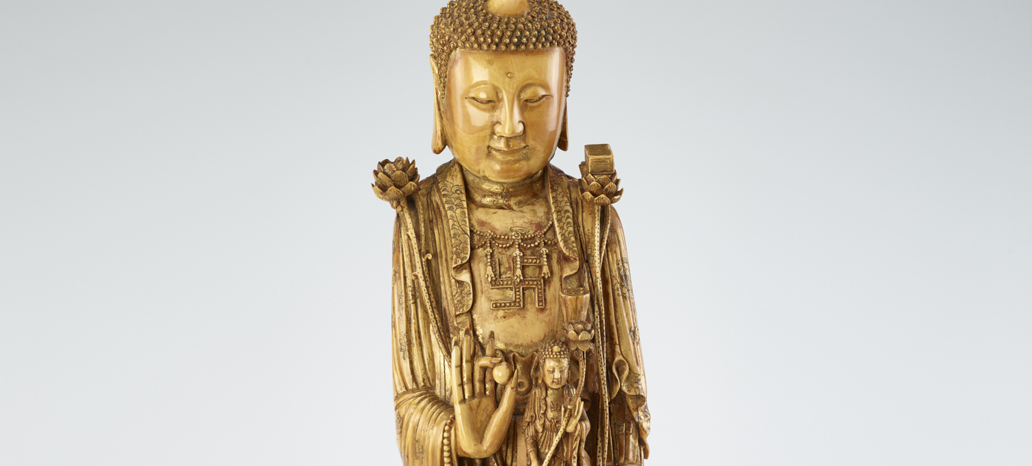 detail of gold Buddha's face