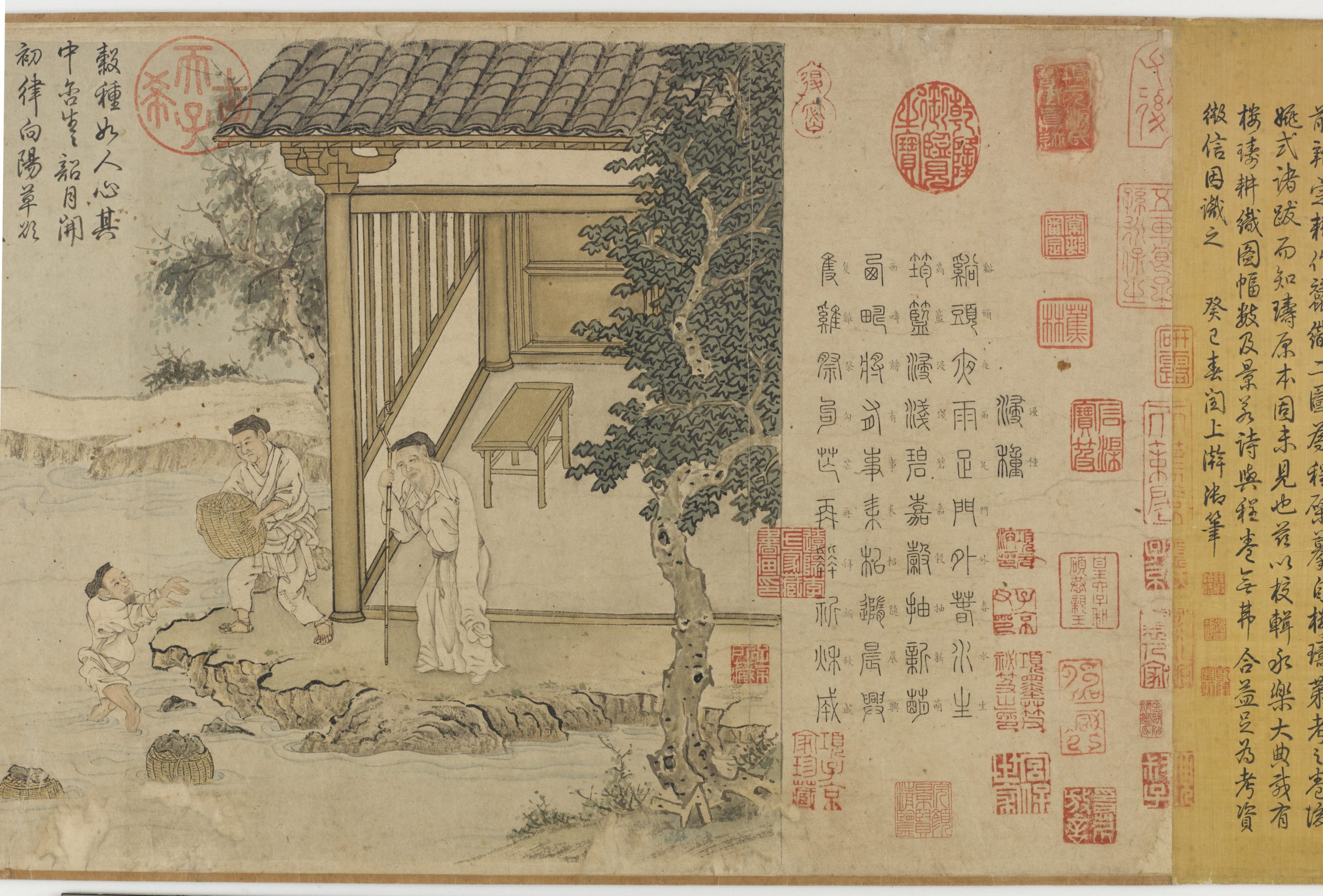illustration of chinese men working in a garden outside a home