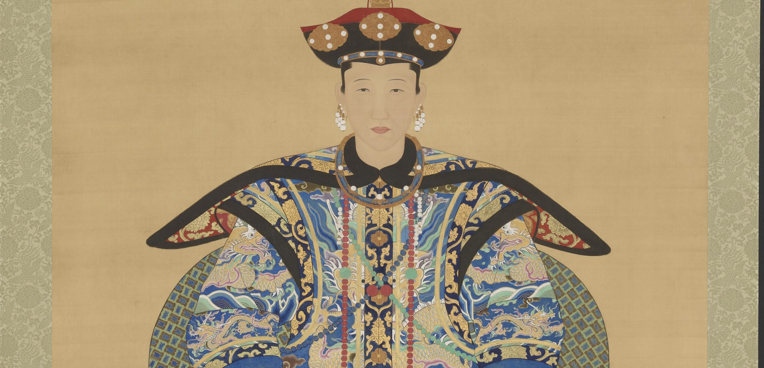 detail of illustration of women in traditional chinese attire