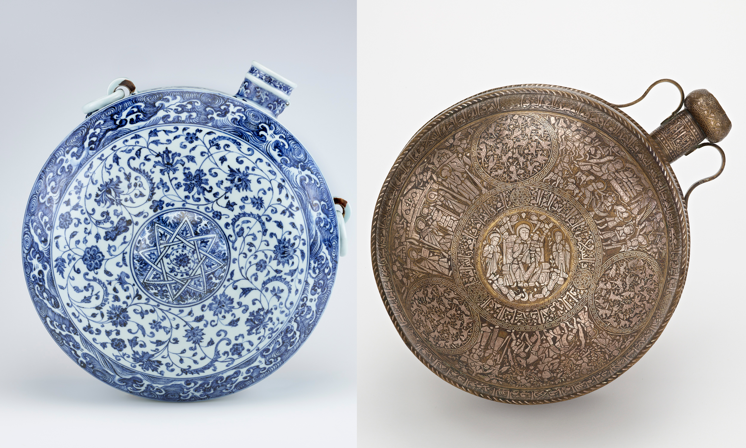 collage of a blue and white ceramic canteen next to a metal canteen